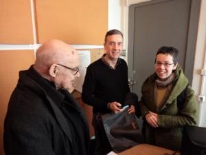 "At the radio station ""Sto kokkino"" (A. Lampropoulos, A, Athanassiou)"